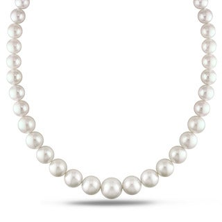Miadora Signature Collection 14k White Gold Cultured South Sea White Pearl and Diamond Accent Strand Necklace (10-15.5 mm)