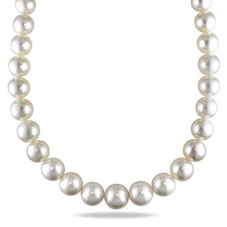Miadora Signature Collection 14k White Gold Cultured South Sea White Pearl and Diamond Accent Strand Necklace (14-17.5 mm)