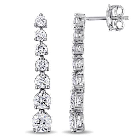 Miadora Signature Collection 18k White Gold 2 1/6ct TDW Diamond Journey Dangle Earrings (G-H, SI1-SI2)