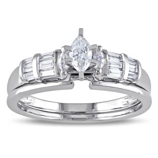 Miadora 10k White Gold 1/2ct TDW Marquise-cut Diamond Bridal Ring Set (G-H, I1-I2)