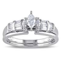 Miadora 10k White Gold 1/2ct TDW Marquise-cut Diamond Bridal Ring Set