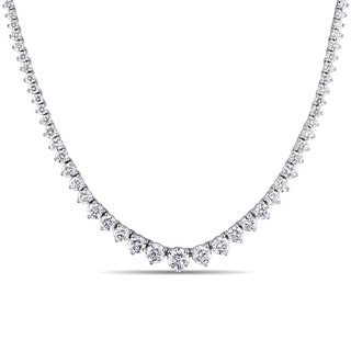 Miadora Signature Collection 18k White Gold 15 3/5ct TDW Certified Diamond Tennis Necklace (G-H, SI1-SI2) (IGI)