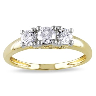 Miadora 14k Yellow Gold 1/2ct TDW Diamond 3-Stone Ring