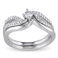 Miadora Sterling Silver 1/4ct TDW Diamond Bypass Bridal Ring Set - White