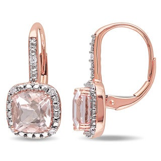 Miadora Signature Collection 10k Rose Gold Cushion-cut Morganite and 1/10ct TDW Diamond Halo Earrings (G-H, I2-I3)
