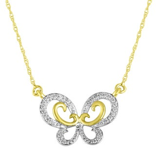 10k Yellow Goldplated Silver 1/10ct TDW Diamond Double Wing Butterfly Pendant Necklace