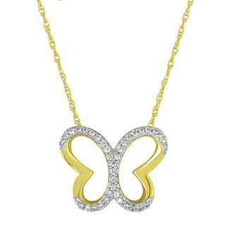 10k Yellow Gold and Sterling Silver 1/10ct TDW Diamond Butterfly Cut-out Pendant Necklace (H-I, I1-I2)