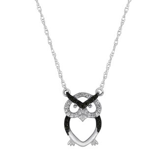 Sterling Silver 1/10ct TDW Black and White Diamond Owl Pendant