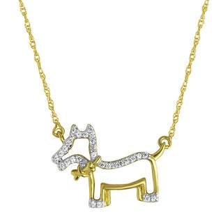 10k Yellow Goldplated Silver 1/10ct TDW Diamond Dog Pendant Necklace