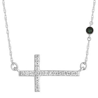 Sterling Silver 1/6ct TDW Blue and White Cross Pendant (H-I, I2-I3)