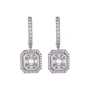 14k White Gold 1 2/5ct TDW Diamond Dangle Earrings (H-I, SI1-SI2)