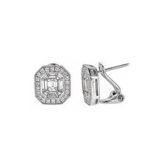 18k White Gold 1 5/8ct TDW Diamond Stud Clip Earrings
