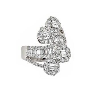 18k White Gold 4ct TDW Pave Set Vintage Design Diamond Ring