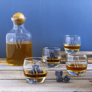 Personalized Whiskey Decanter with Wood Ball Set and Whiskey Soapstones