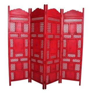 Wanderloot Leela Red 4-panel Hand-painted Wooden Screen (India)