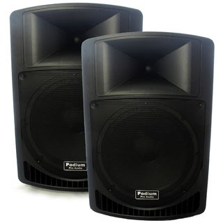 "Podium Pro Audio PP1506A Battery Powered 15"" Active 1800W Speaker Pair MP3 PP1506A-PR"