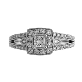 Azaro 14K White Gold 3/4ct TDW Diamond Halo Engagement Ring (G-H, SI2-I1)