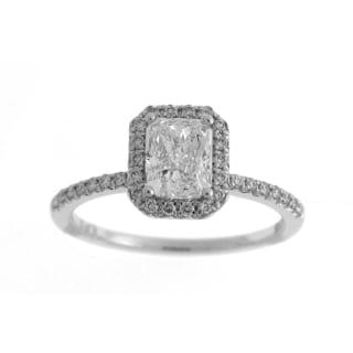 Azaro 14k White Gold 1 1/3ct TDW Diamond Halo Engagement Ring (H-I, SI2)