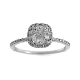 Azaro 14k White Gold 1 1/4ct TDW Diamond Cushion Cut Halo Engagement Ring