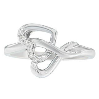 Sterling Silver Round Diamond Accent Heart Ribbon Ring (H-I, I1-I2)