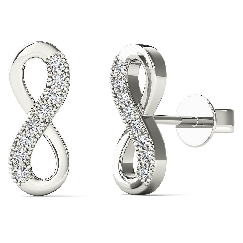 Aalilly 10k White Gold Diamond Accents Infinity Stud Earrings