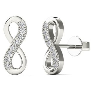 10k White Gold Diamond Accents Infinity Stud Earrings (H-I, I1-I2)