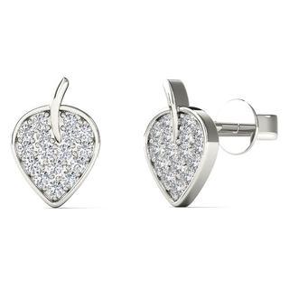 AALILLY 10k White Gold 0.125ct TDW Diamond Leaf Stud Earrings