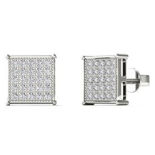 10k White Gold 1/6ct TDW Diamond Square Stud Earrings