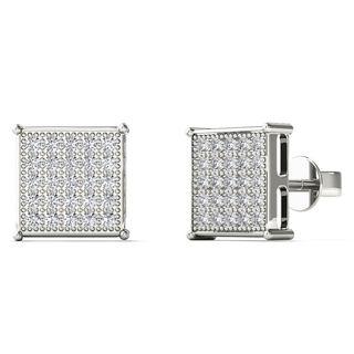 10k White Gold 1/6ct TDW Diamond Square Stud Earrings
