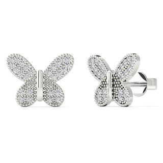 10k White Gold 0.2ct TDW Diamond Butterfly Stud Earrings (H-I, I1-I2)