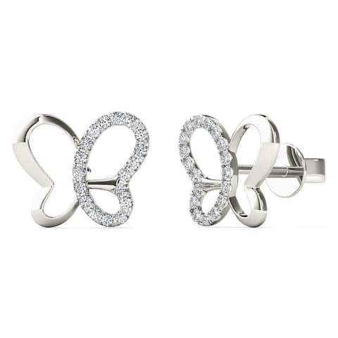 AALILLY 10k White Gold 0.1ct TDW Diamond Butterfly Stud Earrings