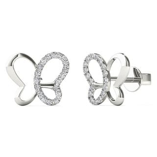 AALILLY 10k White Gold 0.1ct TDW Diamond Butterfly Stud Earrings (H-I, I1-I2)