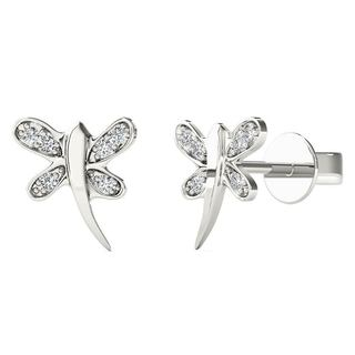10k White Gold Diamond Accent Angel Wing Butterfly Stud Earrings (H-I, I1-I2)
