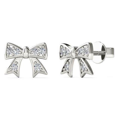 AALILLY 10k White Gold Diamond Accent Bow Stud Earrings