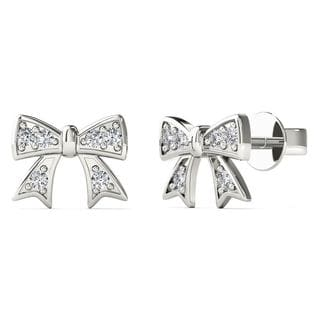 10k White Gold Diamond Accent Bow Stud Earrings (H-I, I1-I2)