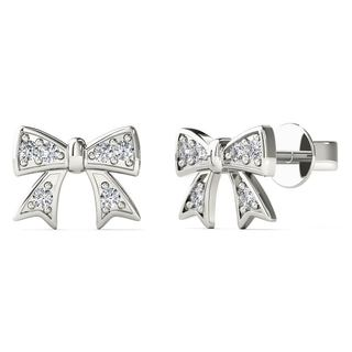 AALILLY 10k White Gold Diamond Accent Bow Stud Earrings (H-I, I1-I2)