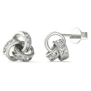10k White Gold Diamond Accent Love Knot Stud Earrings (H-I, I1-I2)