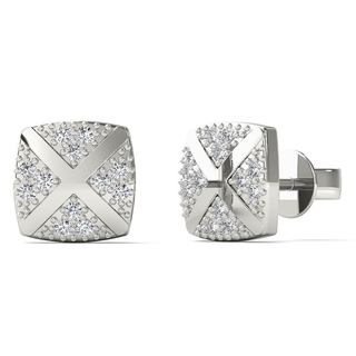 AALILLY 10k White Gold Diamond Accents Square Stud Earrings (H-I, I1-I2)