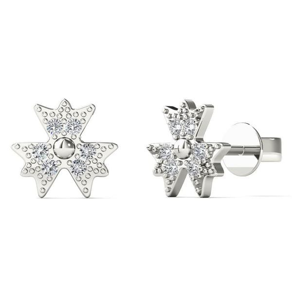 b9922d906b876 Shop AALILLY 10k White Gold Diamond Accent three Leaf Clover Stud ...