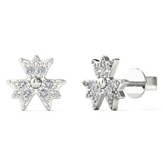 AALILLY 10k White Gold Diamond Accent three Leaf Clover Stud Earrings (H-I, I1-I2)