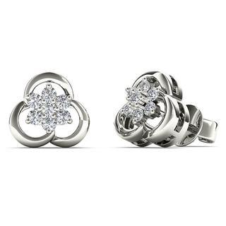10k White Gold 0.167ct TDW Diamond Flower Cluster Stud Earrings (H-I, I1-I2)