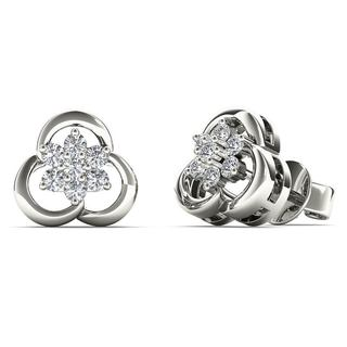 AALILLY 10k White Gold 0.167ct TDW Diamond Flower Cluster Stud Earrings