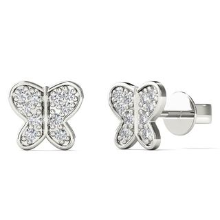 AALILLY 10k White Gold Diamond Accent Butterfly Stud Earrings