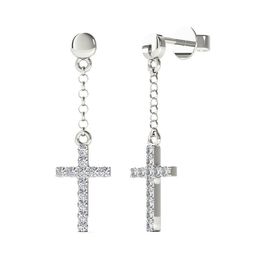 Aalilly 10k White Gold 1 10ct Tdw Diamond Cross Dangle Stud Earrings