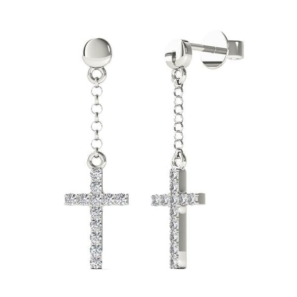 Aalilly 10k White Gold 1 10ct Tdw Diamond Cross Dangle Stud Earrings