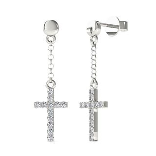 10k White Gold 0.1th TDW Diamond Cross Dangle Stud Earrings (H-I, I1-I2)