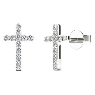 10k White Gold 1/10ct TDW Diamond Cross Stud Earrings (H-I, I1-I2)