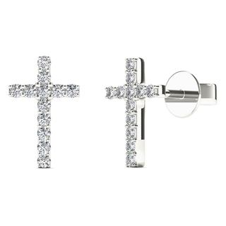 10k White Gold 1/10ct TDW Diamond Cross Stud Earrings