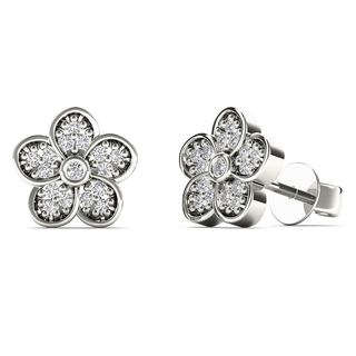 10k White Gold 0.1ct TDW Diamond Flower Stud Earrings (H-I, I1-I2)