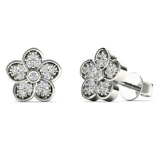 AALILLY 10k White Gold 0.1ct TDW Diamond Flower Stud Earrings